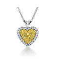 Picture of Vivid Yellow natural diamond Heart pendant, 1.27 carat SI