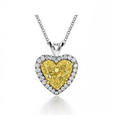 Vivid Yellow natural diamond Heart pendant, 1.27 carat SI