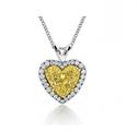 Foto Colgante de corazón de diamante natural amarillo intenso, 1.27 quilates SI de