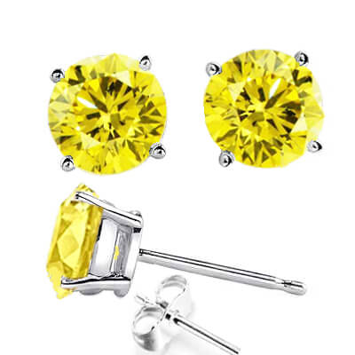 1.80 carats Canary fancy yellow natural diamond earrings, round natural diamonds