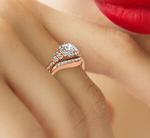 Rose gold engagement and wedding rings set vintage style