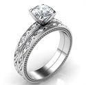 Picture of Kimberly-Leaf motif vintage bridal set with side diamonds 0.18 carat