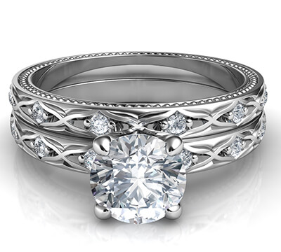 Conjunto de novia vintage con motivo de Kimberly-Leaf con diamantes laterales de 0.18 quilates