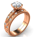 Foto  Rose gold leaf motif vintage bridal set with side diamonds 0.20 carat-Kimberly de