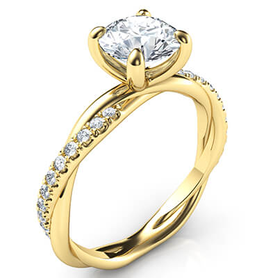 Crystal- the rope engagement ring with side diamonds, for all shapes