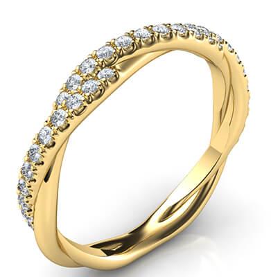 Cristal - el anillo de boda de la cuerda con diamantes