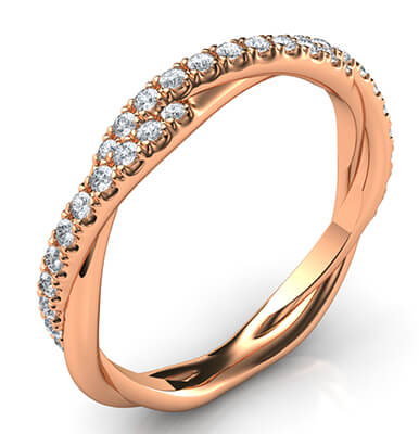 Crystal- the rope wedding band with diamonds
