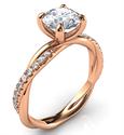 Foto Anillo de compromiso de cuerda de oro rosa de cristal con diamantes laterales, para todas las formas de