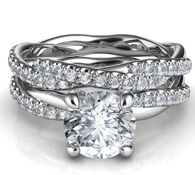 Crystal-the rope bridal set with dismonds, for all diamonds shapes and sizes