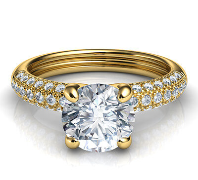 Contemporary engagement ring with side diamonds-Donna