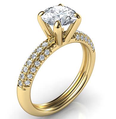 Anillo de compromiso contemporáneo con diamantes laterales-Donna