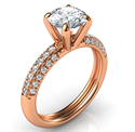Picture of Rose gold contemporary engagement ring with side diamonds-Angela