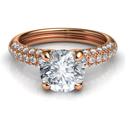 Rose gold contemporary engagement ring with side diamonds-Angela