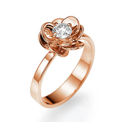 Rose gold Viola flower engagement ring