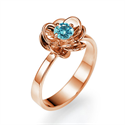 Picture of Sky Blue natural diamond in rose gold Viola flower engagement ring