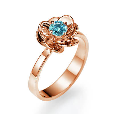 Sky Blue natural diamond in rose gold Viola flower engagement ring