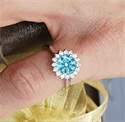 Picture of 1.54 center Sky Blue natural diamond Vintage style Halo ring head engagement ring