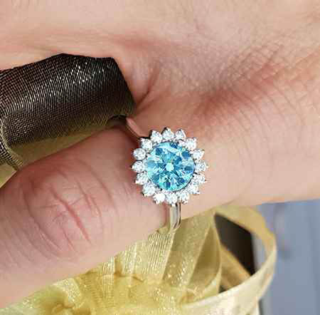 1.54 center Sky Blue natural diamond Vintage style Halo ring head engagement ring