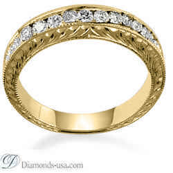 Hand Engraved wedding rings with round diamonds