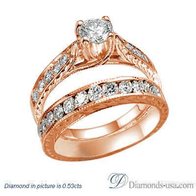 Vintage style hand engraved bridal rings set