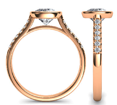 Rose Gold Delicate Low Profile bezel set engagement ring for Rounds, with side diamonds-Pamela
