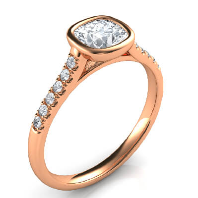 Anillo de compromiso delicado de perfil bajo para cojines con diamantes laterales-Amanda