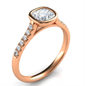 Picture of  Rose Gold Delicate Low Profile bezel set engagement ring for Cushions with side diamonds-Amanda