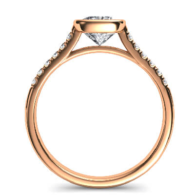 Rose Gold Delicate Low Profile bezel set engagement ring for Cushions with side diamonds-Amanda