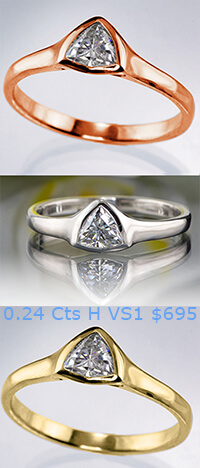 Triangle diamond rings, white, yellow and rose gold