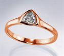 Foto Anillo de compromiso barato con triángulo de oro rosa con diamante natural de 0.24 quilates H VS1 de