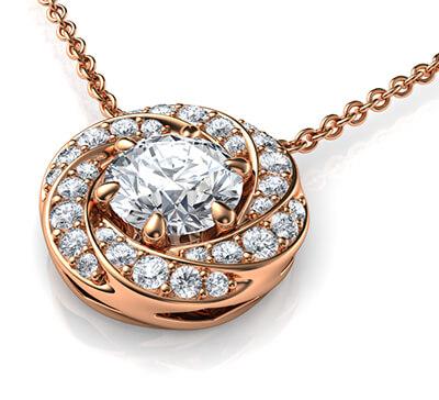 El colgante Spinner para diamantes redondos.