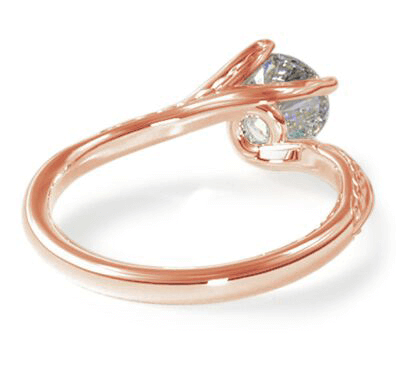 Rose Gold Vintage style wheet motif solitaire engagement ring