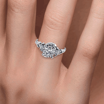 Leaf motif Vintage style engagement ring-Sharon