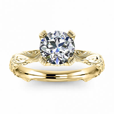 Solitaire Leaf motif  engagement ring-Nancy