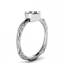 Picture of Solitaire Leaf motif low profile bezel set engagement ring-Shirley