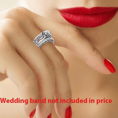 Designer's vintage engagement ring. Nature motif. 0.09 cts sides