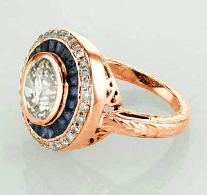 Réplica victoriana de oro rosa. Anillo de compromiso vintage.