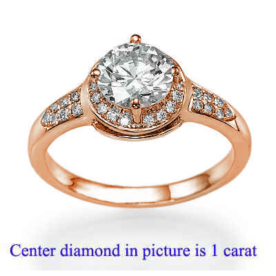 Rose Gold One row Halo for bigger diamonds