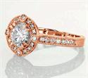 Foto Ronda de la princesa y el cojín anillo de compromiso de diamantes Halo de