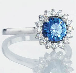 Blue Colored diamond in a halo ring