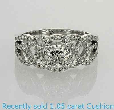 Swirl eternity Halo Low/High profile engagement ring, 0.46 carat side natural diamonds