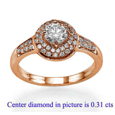 Engagement ring withTwo rows Halo