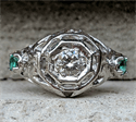 Picture of Genuine 1920's Art Deco Engagement ring set with natural diamond 0.22 carat