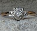 Foto Anillo de compromiso art déco de Dainty 1930 con diamante natural de 0,10 quilates engastado de