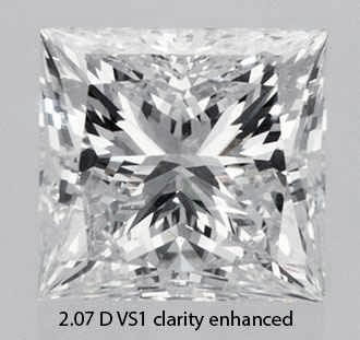 Picture of 2.07 Carats, princess diamond with ideal cut, D color, vs1 clarity and certified by EGL