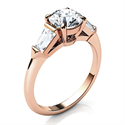 Picture of Rose Gold Engagement ring  with two Baguette diamonds 0.42 carts total
