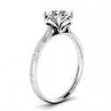 Picture of Contemporary hand brushed solitaire engagement ring, Kathleen