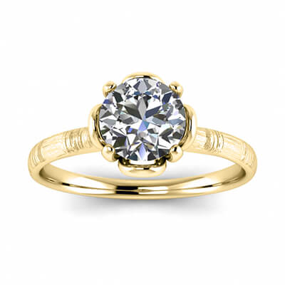 Contemporary hand brushed solitaire engagement ring, Kathleen