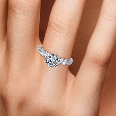 Vintage style wheat pattern leaves solitaire enagement ring-Carol