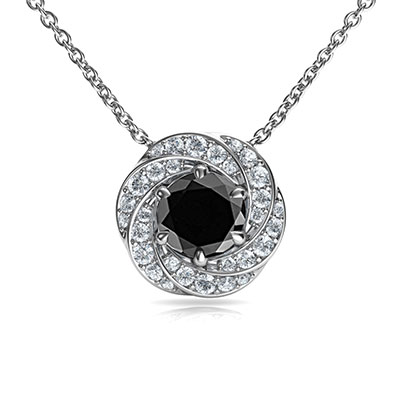 The Spinner pendant with 1 carat Black center diamond